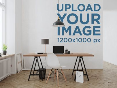 Mockup of the Wallpaper Behind a Neat and Modern Desk 2702-el1
