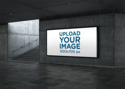 Billboard Mockup Featuring Underground Stairs 2853-el1