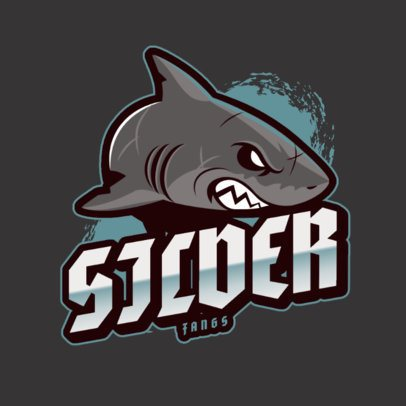 Sports Logo Template with an Angry Shark Clipart 2975bc