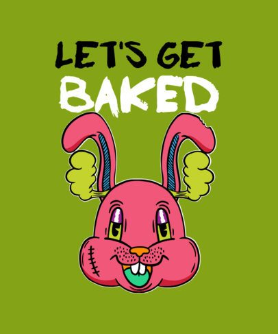 T-Shirt Design Maker for 420 Enthusiasts with a Smiling Rabbit 2256d