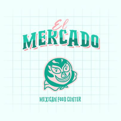 Mexican Food Center Logo Creator with a Masked Wrestler Graphic 2978a