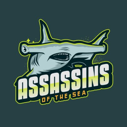 Gaming Logo Template Featuring a Hammer Shark Illustration 2975i