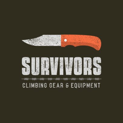 Climbing Equipment Store Logo Maker with a Knife Graphic 877a-el1