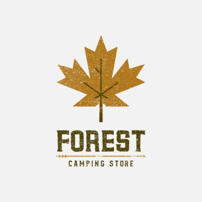 Logo Template for a Camping Store with a Leaf Clipart 877b-el1