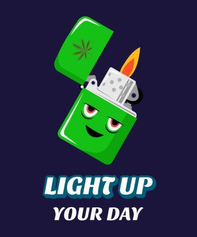 T-Shirt Design Template with a Marijuana Lighter Cartoon Character 2257f