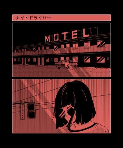 Manga T-Shirt Design Template With Dark Illustrations 2293a