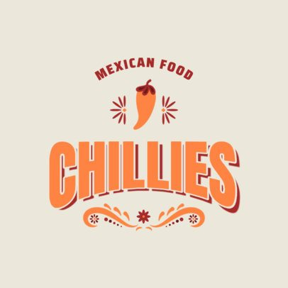 Mexican Restaurant Logo Template Featuring a Chilli Clipart 2976e