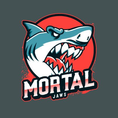 Sports Logo Template Featuring a Deadly White Shark Graphic 2975l