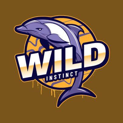 Emblem Logo Template Featuring an Aggressive Dolphin 2975v
