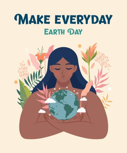 Earth Day T-Shirt Design Template Featuring Mother Nature Illustrations 2300