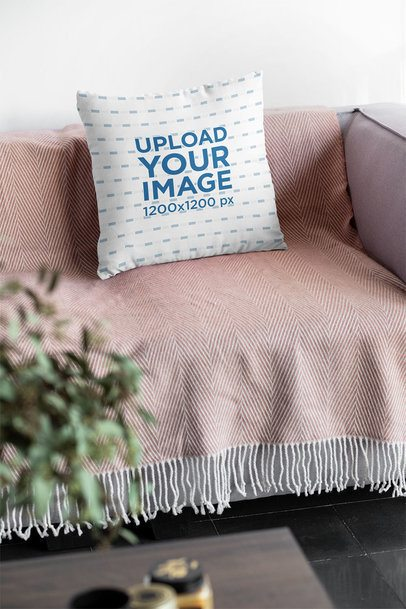 Mockup of a Squared Pillow on a Relaxing Couch 31295