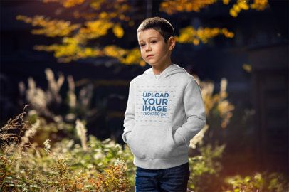 Heather Hoodie Mockup of a Young Boy Posing in Nature 2930-el1