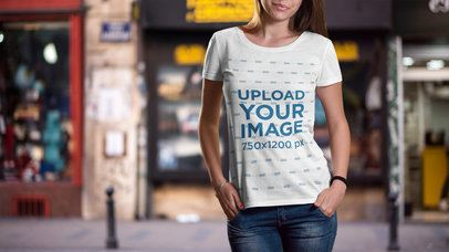 Mockup of a Young Woman Wearing a T-Shirt on the Street 2988-el1