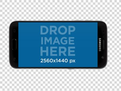 Mockup of a Samsung Galaxy in Landscape Position Over a Transparent Background a12166