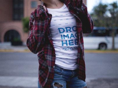 T-Shirt Mockup of a Woman Wearing a Plaid Shirt a12222