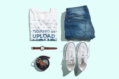 T-Shirt Mockup Featuring a Casual Men's Outfit and a Customizable Background 3003-el1