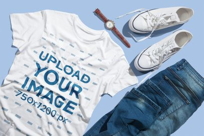 T-Shirt Mockup Featuring Jeans and Sneakers 3004-el1
