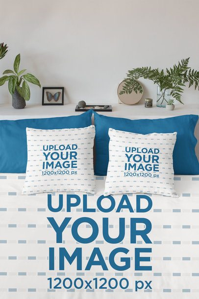 Duvet Cover Mockup Featuring Two Square Pillows 31304