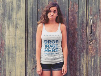 Tank Top Mockup of a Lovely Girl Making a Funny Face a12206