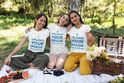 T-Shirt Mockup of Three Friends at a Picnic 32275