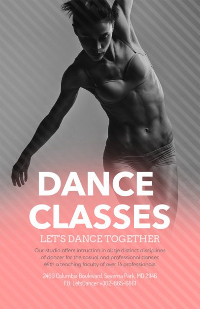 Modern Flyer Design Template for Dancing Lessons 139b