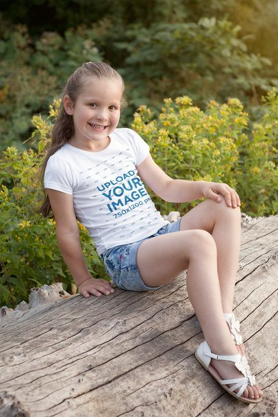 Mockup of a Girl Posing on a Log with a T-Shirt 2907-el1