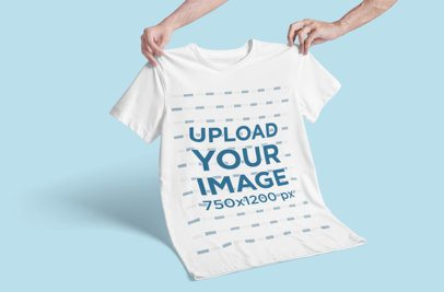 Mockup of a Man Holding a T-Shirt Against a Customizable Background 3018-el1