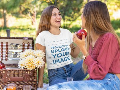 T-Shirt Mockup of a Smiling Woman on a Picnic with a Friend 32258