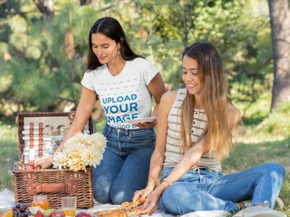 T-Shirt Mockup of a Woman on a Picnic with Her Friend 32280