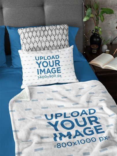 Home Decor Mockup Featuring a Pillow and a Blanket 31296