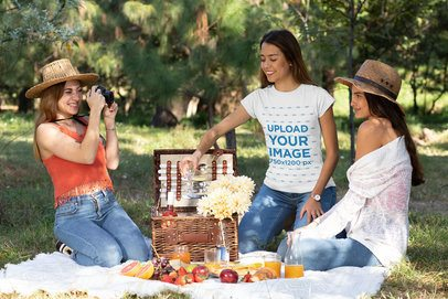 Mockup of a Woman Wearing a T-Shirt on Picnic with Her Friends 32264