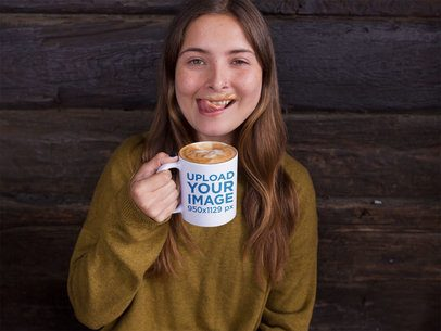 Girl with Hot Chocolate Mustache Drinking From Her Mug Mockup a11953
