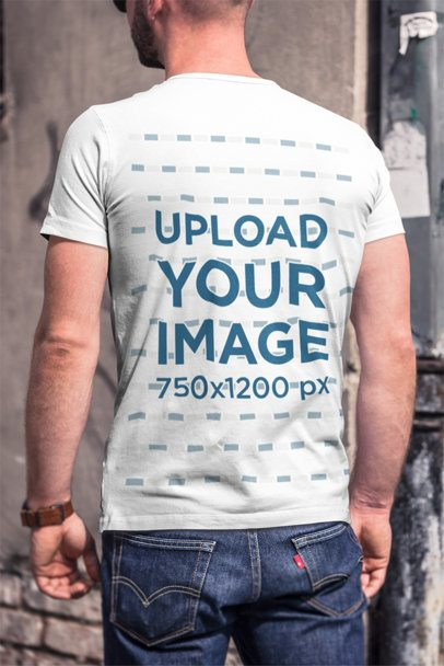Mockup of the Back of a Man Wearing a T-Shirt 2972-el1