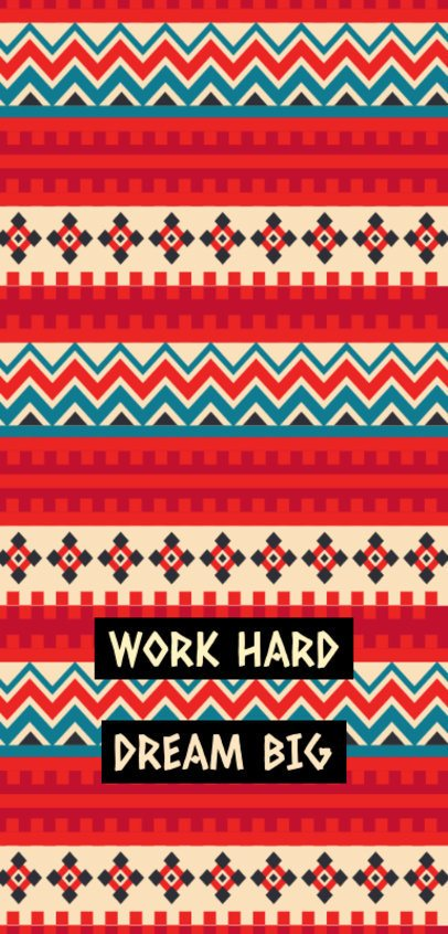 Cool Phone Case Design Template With Modern Patterns and a Work Hard Quote 2307g