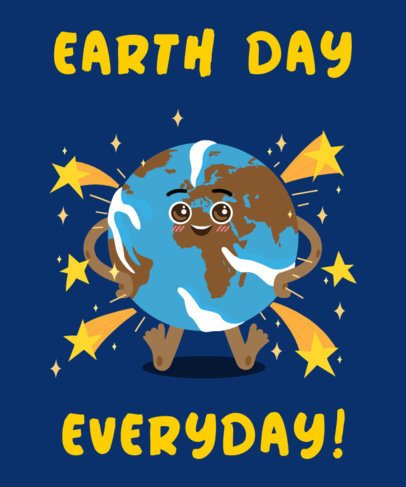 T-Shirt Design Maker Featuring a Smiling Planet Earth Graphic 2292c