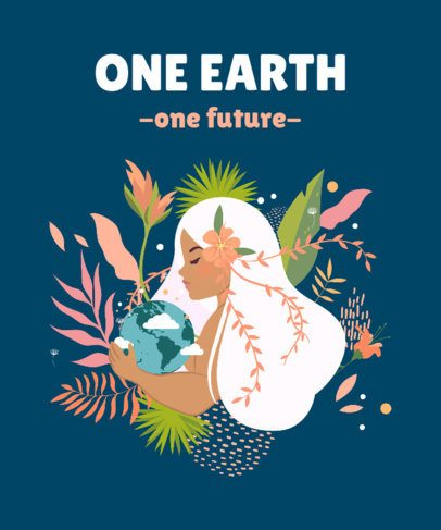 Earth Day T-Shirt Design Maker Featuring a Woman Holding Our Planet 2300c