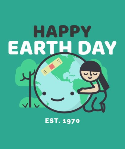 Earth Day T-Shirt Design Maker Featuring a Kid Hugging a Planet 2301C
