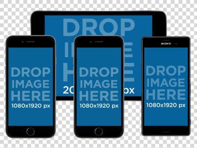 iPad + iPhone 6 + iPhone 6 Plus + Android Phone Set PNG Mockup a11913