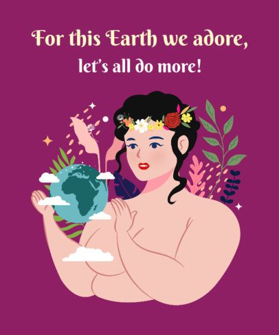 T-Shirt Design Maker for Earth Day with a Woman Referencing Mother Nature 2300b