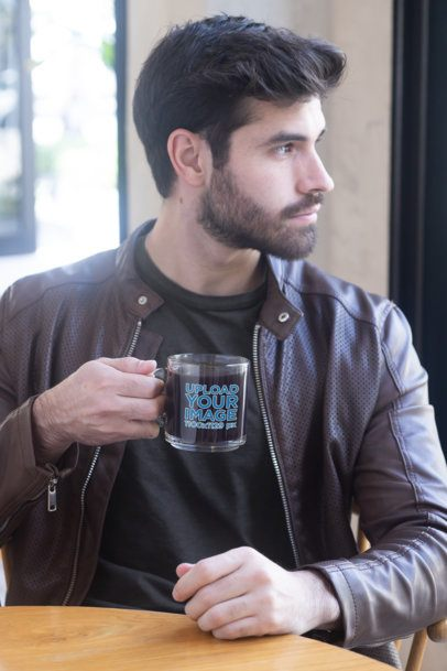 Glass Coffee Mug Mockup Featuring a Bearded Man 31773