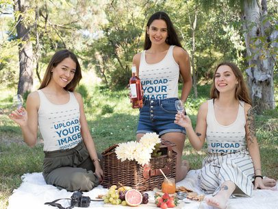 Tank Top Mockup Featuring Three Happy Women Having a Picnic in the Forest 32272