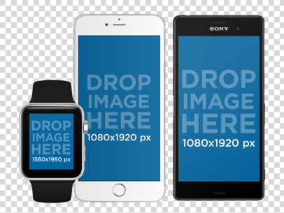 Smartwatch with iPhone 6 and Android Phone Set in Portrait Position Mockup a11868