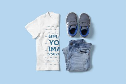 T-Shirt Mockup of a Boy's Outfit on a Customizable Surface 3000-el1