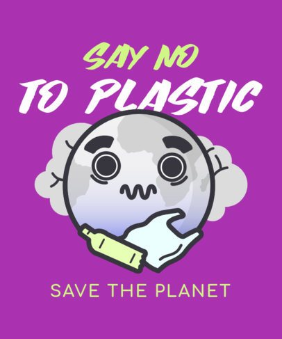 Earth Day T-Shirt Design Generator Featuring a Zero-Plastic Awareness Message 2301d