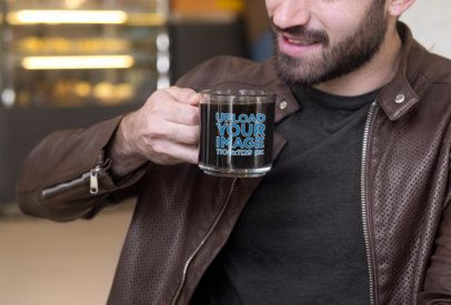 11 oz Clear Coffee Mug Mockup Featuring a Bearded Man Taking a Sip 31774