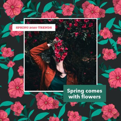 Spring Instagram Post Generator Featuring a Floral Illustration Background 2309i