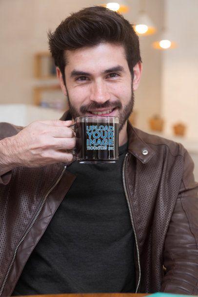Clear Glass 11 oz Coffee Mug Mockup Featuring a Smiling Man 31775