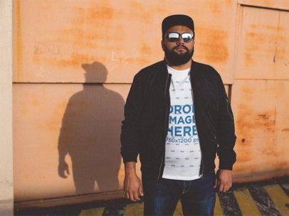 Plus Size T-Shirt Mockup Featuring a Cool Hispanic Guy a12284