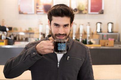 Clear Mug Mockup of a Bearded Man Tasting a Dark Coffee 31780