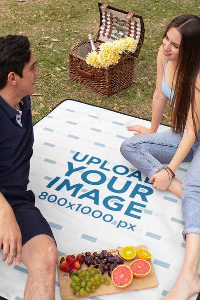Blanket Mockup of a Couple Having a Picnic 32290
